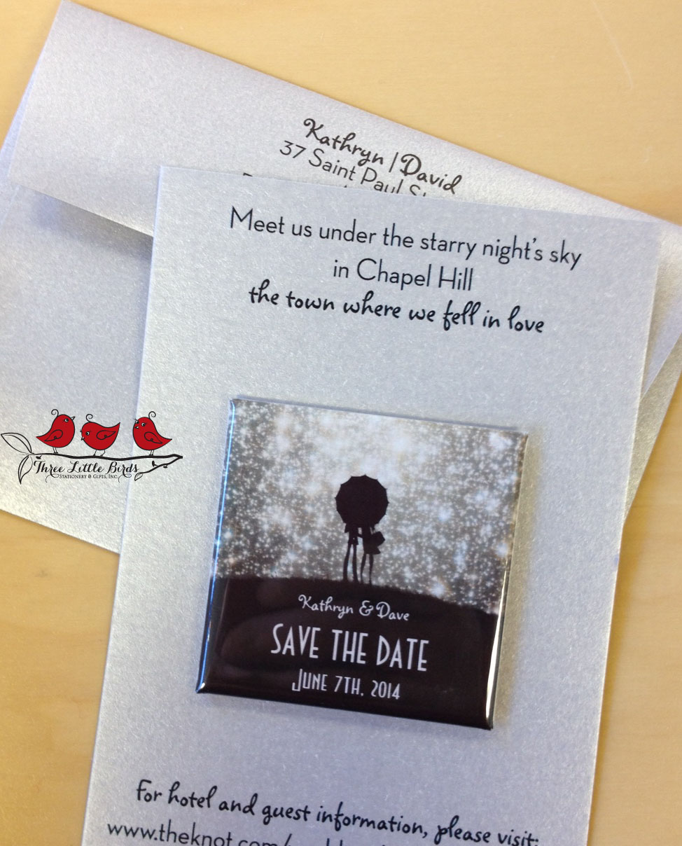 Three Little Birds - Save the Date - Starry Night - Magnet