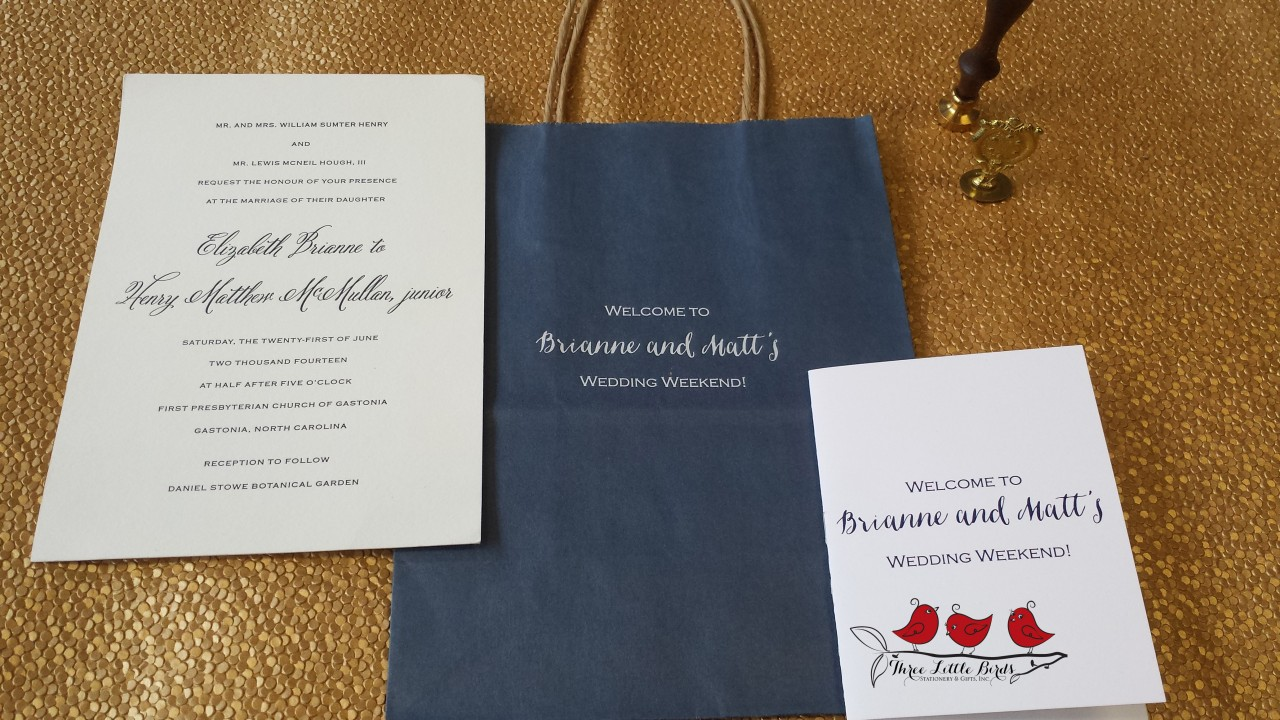 Three Little Birds_Brianne and Matt_custom gift bags_Wedding Welcome Booklet_ Letterpress Invitation